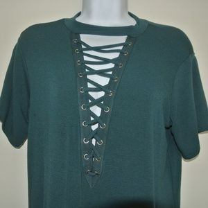 Forever 21 Tops - Turquoise Lace Up Tee